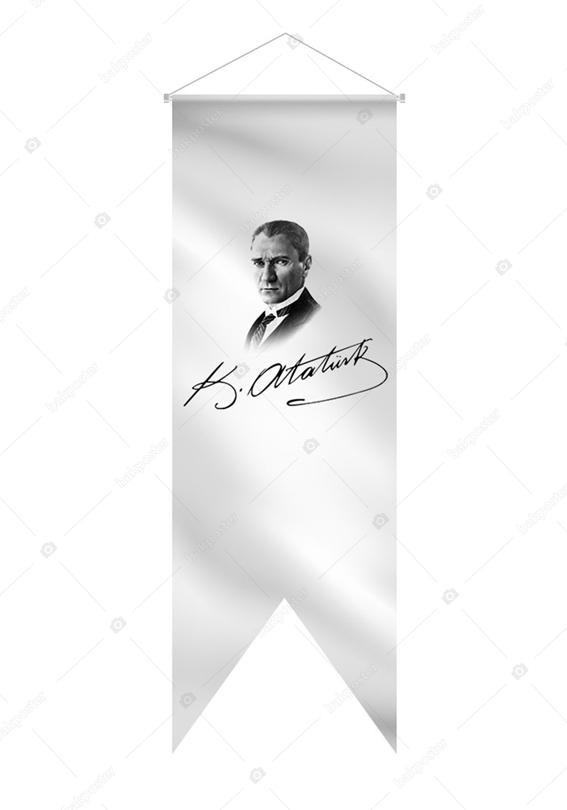 Atatürk Portre ve İmza (50x150cm) Kırlangıç Bayrak