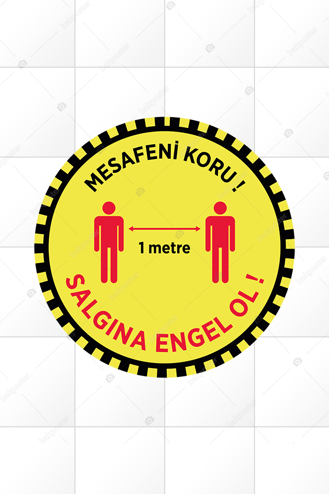 Corona Virüs Mesafeni Koru Zemin Etiket