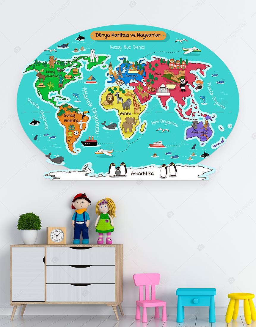 Dünya Haritası ve Hayvanlar