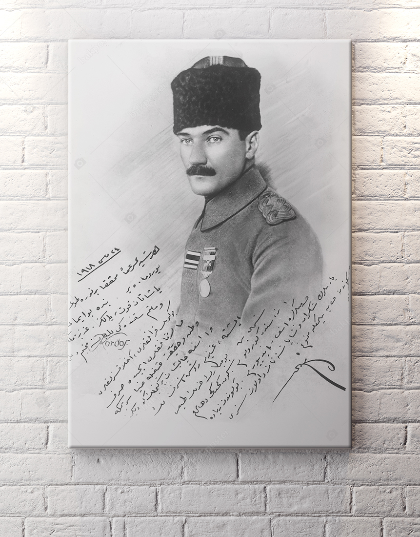 Eski Türkçe Yazılı Atatürk Kanvas Tablo