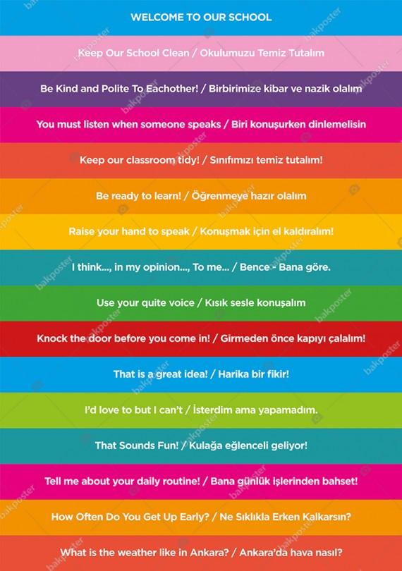 Okul Kolej Merdiven Yazıları İngilizce Türkçe