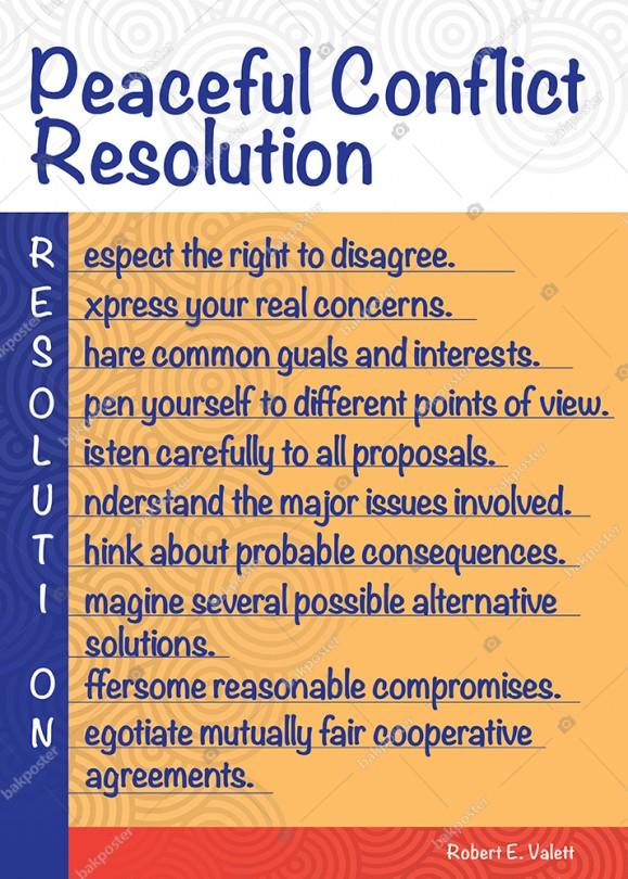 Peaceful Confliet Resolution İngilizce Okul Posteri Görsel Tablo Okul Panosu