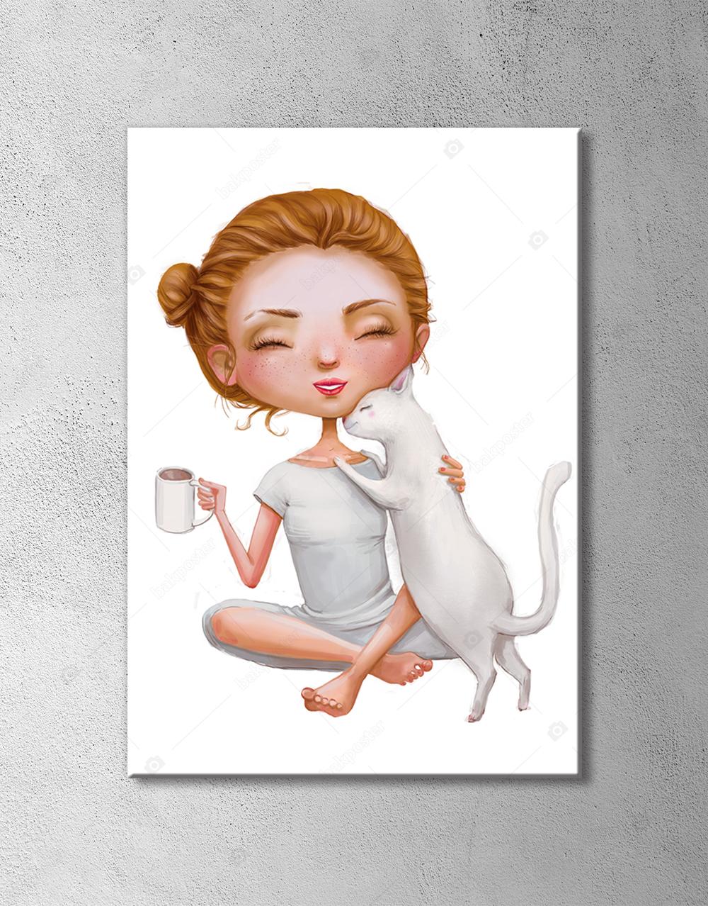 Sevimli Çay İçen Kız ve Kedisi Poster