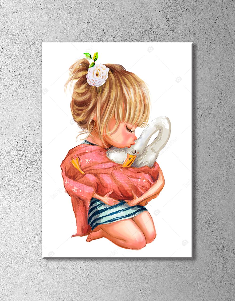 Sevimli Kız ile Kaz Çizim Poster